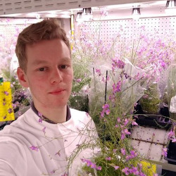Masculine presenting person with blond hair next to flowers in a lab